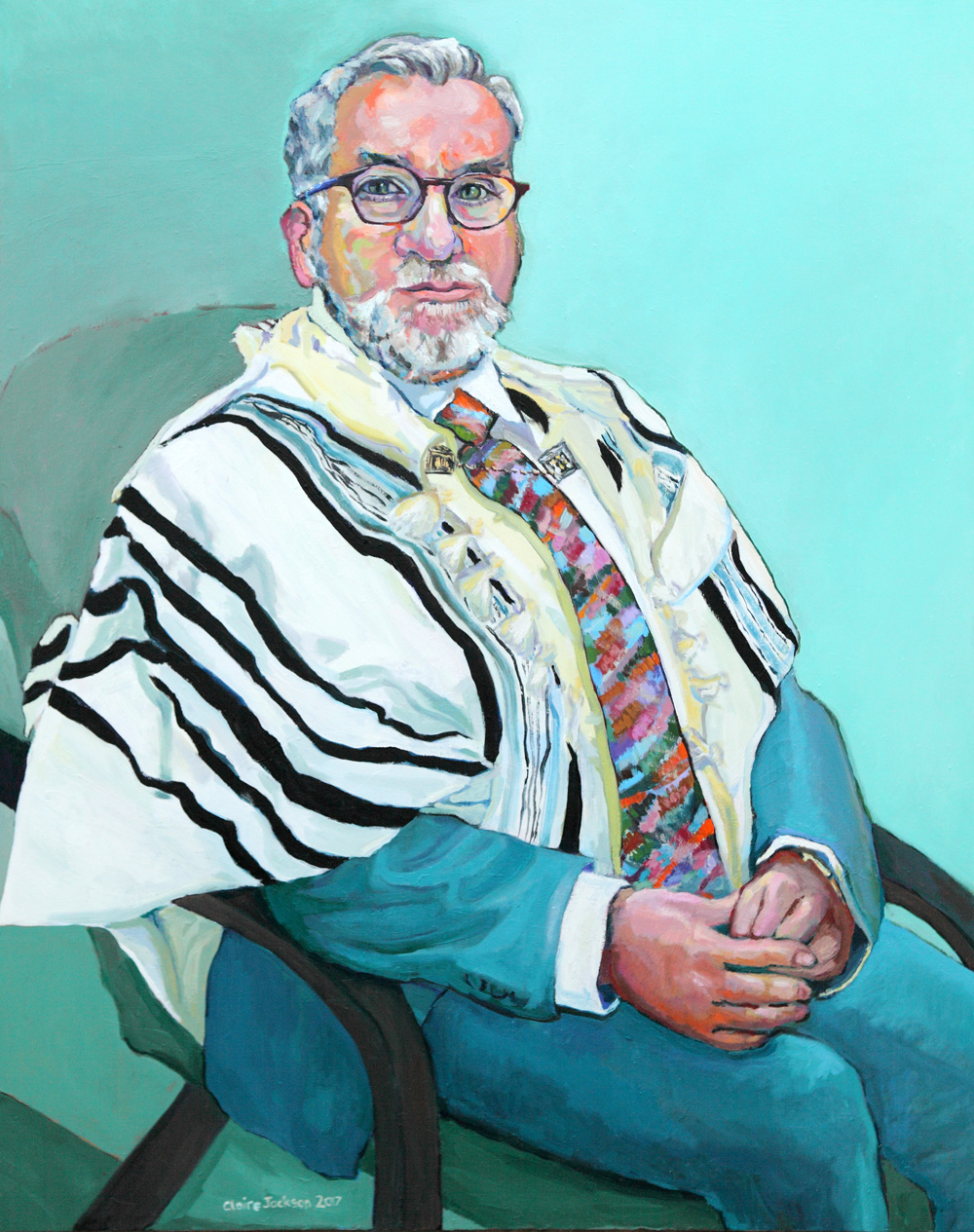 Claire Elizabeth Jackson, Rabbi Mark Solomon, Oil on canvas, 100 x 80 x 4,