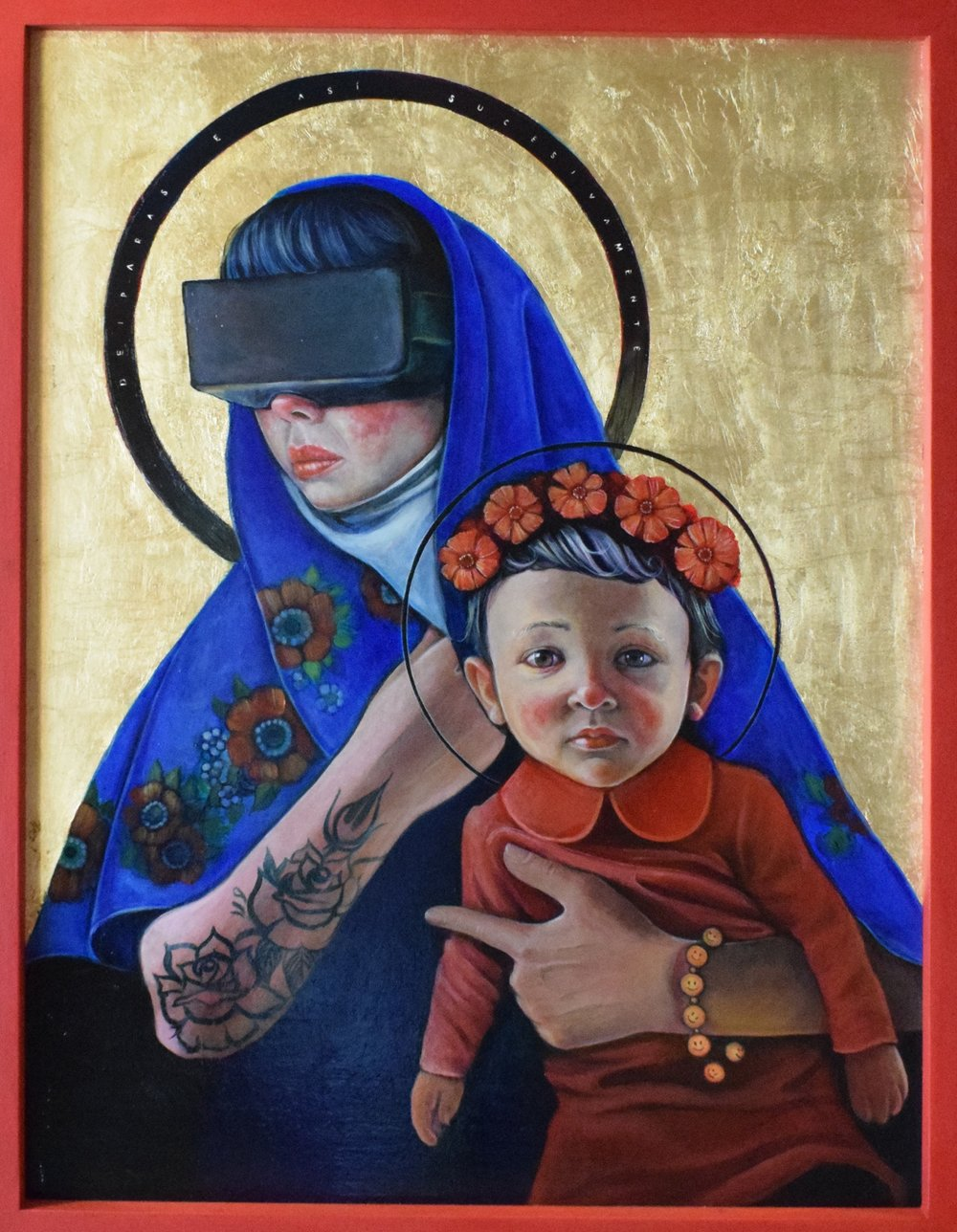 Natasha Lelenco, Deíparas, Acrylic and gold leaf on canvas board, 90 x 70cm x 4 cm,  https://www.natashalelenco.com/
