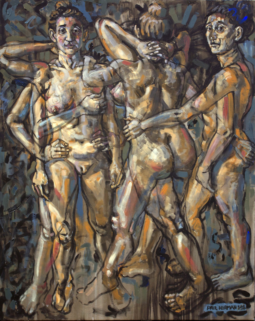 Paul Herman, Europhrynes, Aglaia, & Thalia, Acrylics on canvas, 150 x 120 x 3 cm,  http://hermanstudios.com