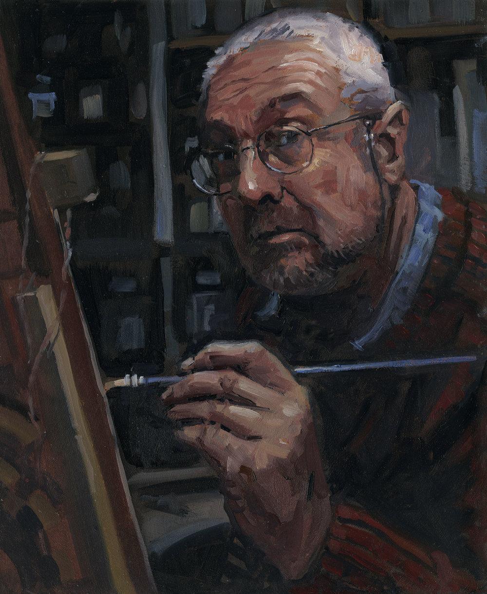 Rob Adams, The Painter, Oils, 30cm x 36width cm x 0.3depth cm,  http://www.treeshark.com/treeblog/
