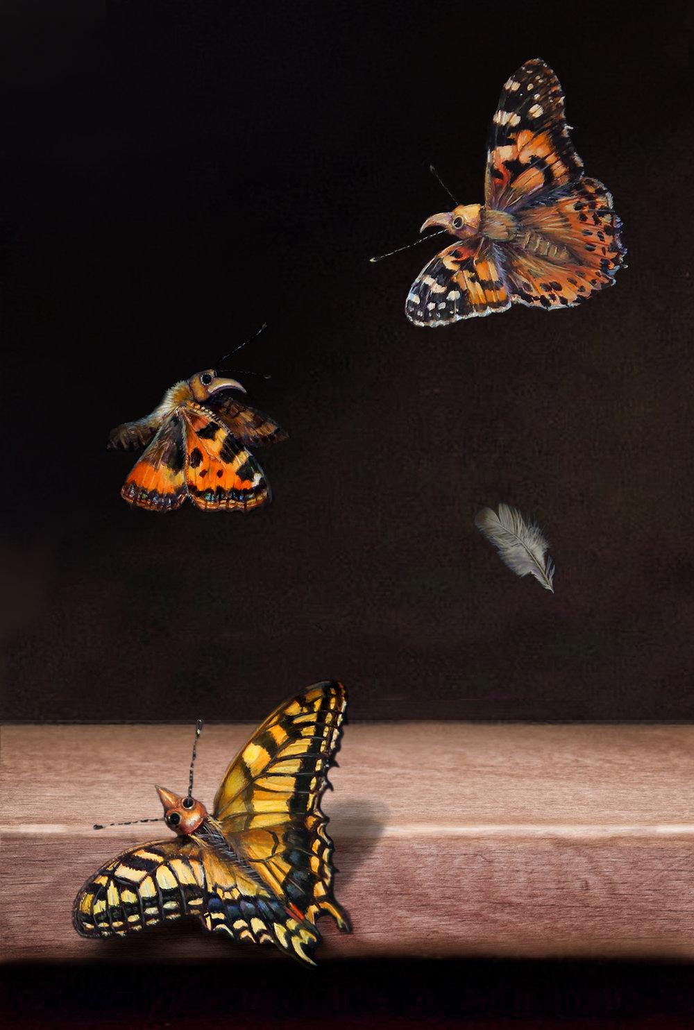 Hazel Mountford, Unnatural Order, Acrylic on wood, 32 x 22 x 2, http://hazelmountford.com/
