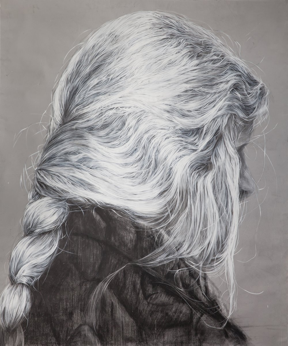 Jovanka Stanojevic, Hair 14, Acrylic, dry pastel on paper, 165x130cm
