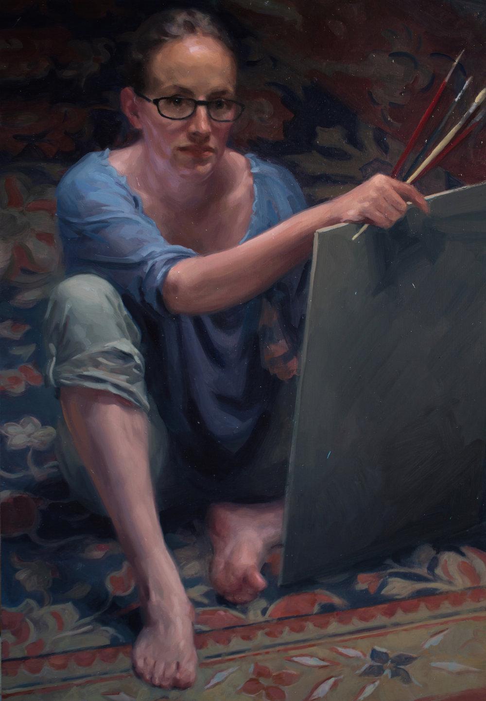 Frances Bell, Self portrait, oil on board, 45 x 60 x 1,  http://www.francesbellpaintings.co.uk