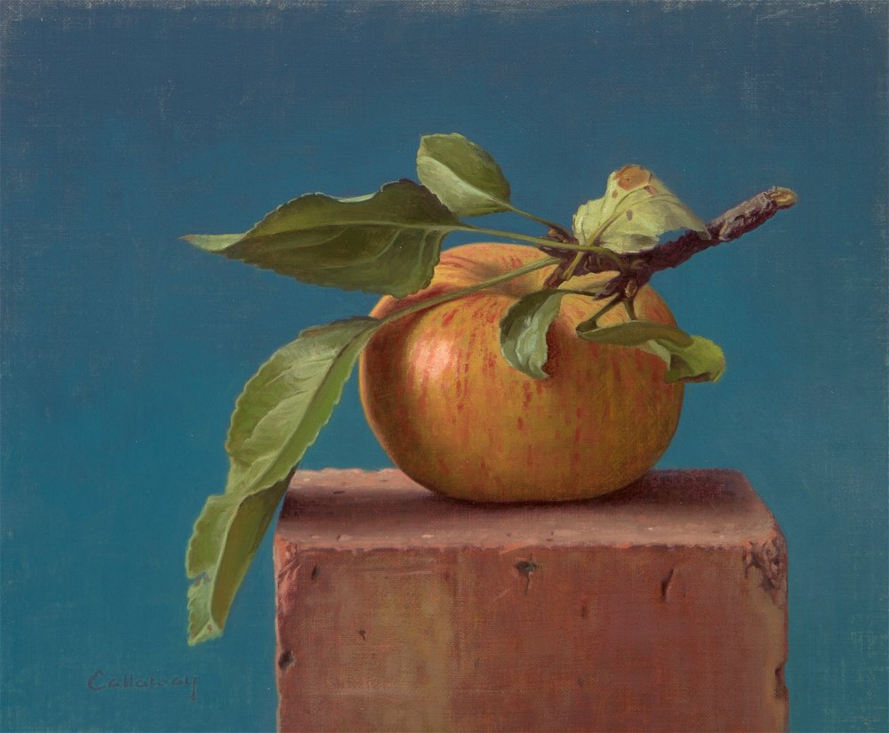 Alex Callaway, Apple on a Brick II, Oil, 25cmx30cmx0.5cm,  http://www.alexcallaway.com
