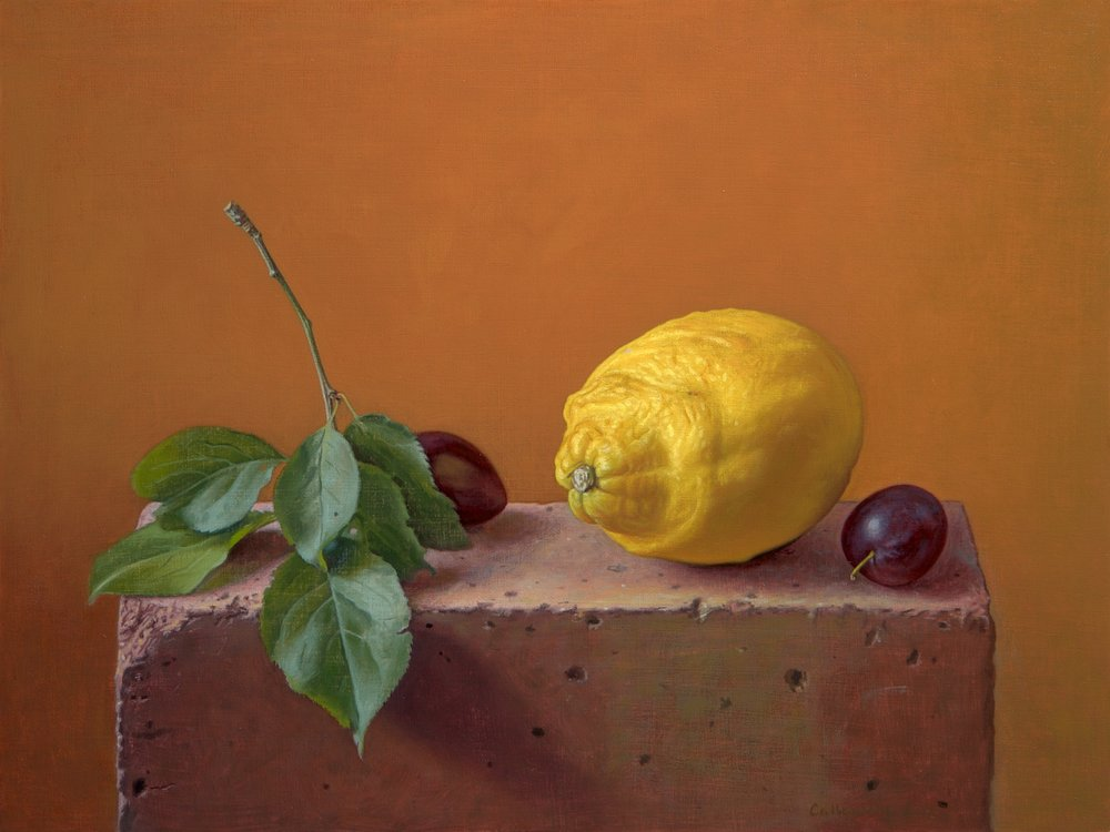 Alex Callaway, Lemon with Damsons on a Brick, Oil, 30cmx40cmx0.5cm,  http://www.alexcallaway.com