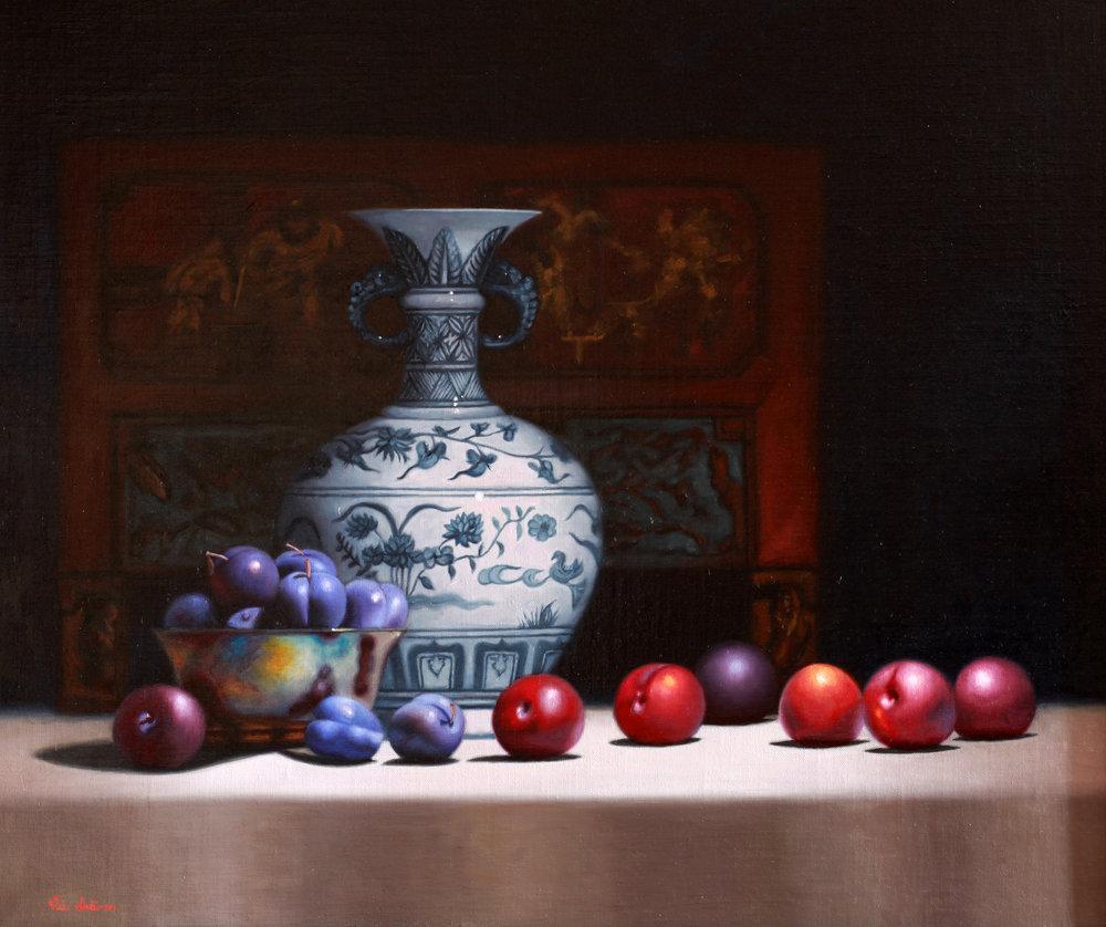Vicki Sullivan, Blue Plums with Chinese vase, Oil on Belgian Linen, H 58cm x W 70cm,  http://www.vickisullivan.com