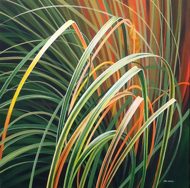 Dennis Hobbs, Dancing Grasses, Acrylic on canvas, 91cm X 91cm X 15mm,