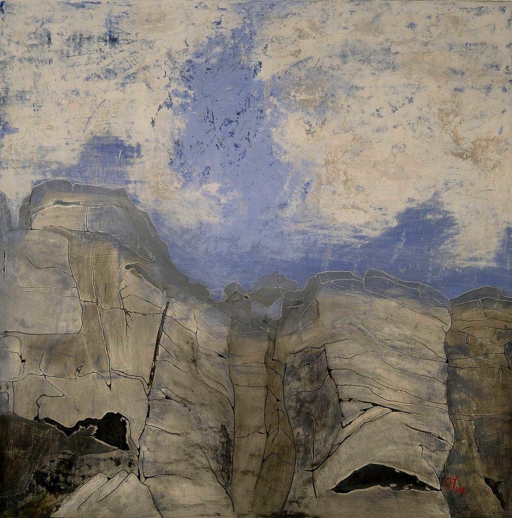 Robert Twigg, Hiatus, Oil, cold wax and ink, 91x91x2,