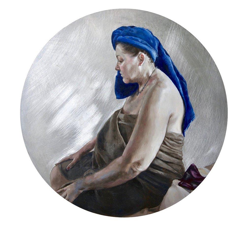 Alicia France, Blue Turban, Oil on Aluminium, 30 cm x 30 cm, http://www.aliciafrance.com