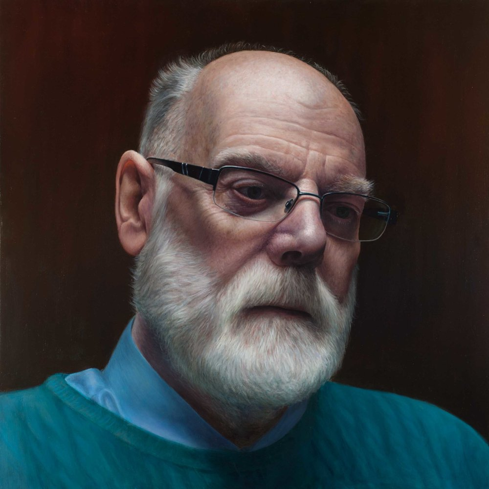 Victor Harris, John, Oil on linen, 90 x 90 x 4,  http://www.vicharris.co.uk