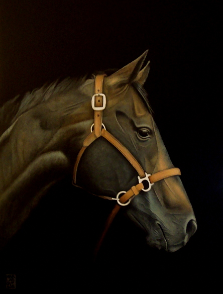 Panayiotis Marlagoutsos, Black Horse, Oil on Wood, 30cm x 22 cm x 1cm,  http://www.marlagoutsos.gr