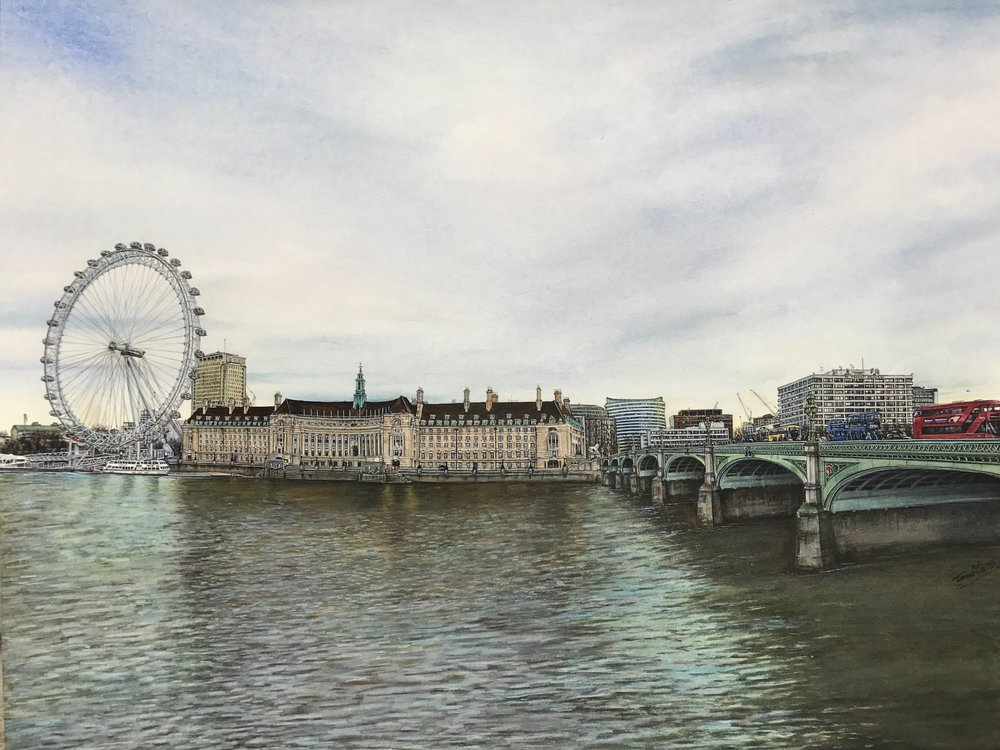 Toulla Hadjigeorgiou, Winter View From Westminster Bridge Road, Watercolour, 73 x 63 cms