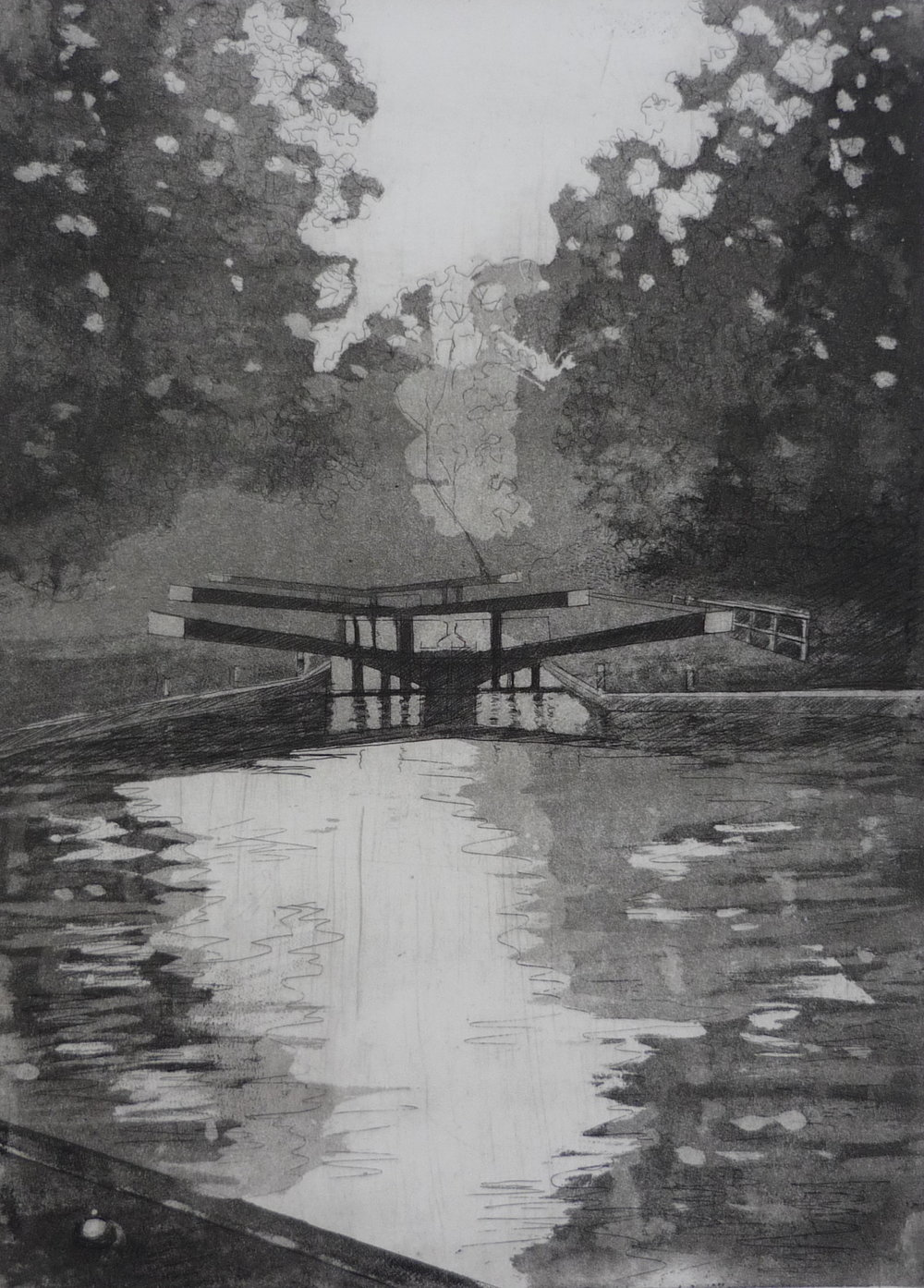 Jessica Rose, Hanwell Locks, Etching on paper, 53 cm x 41 cm x 0 cm,  http://jessicaroseartist.co.uk