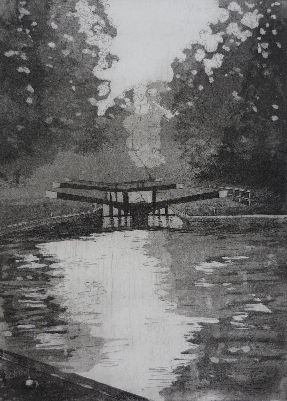 Jessica Rose, Hanwell Locks, Etching on paper, 53 cm x 41 cm x 0 cm,  http://jessicaroseartist.co.uk