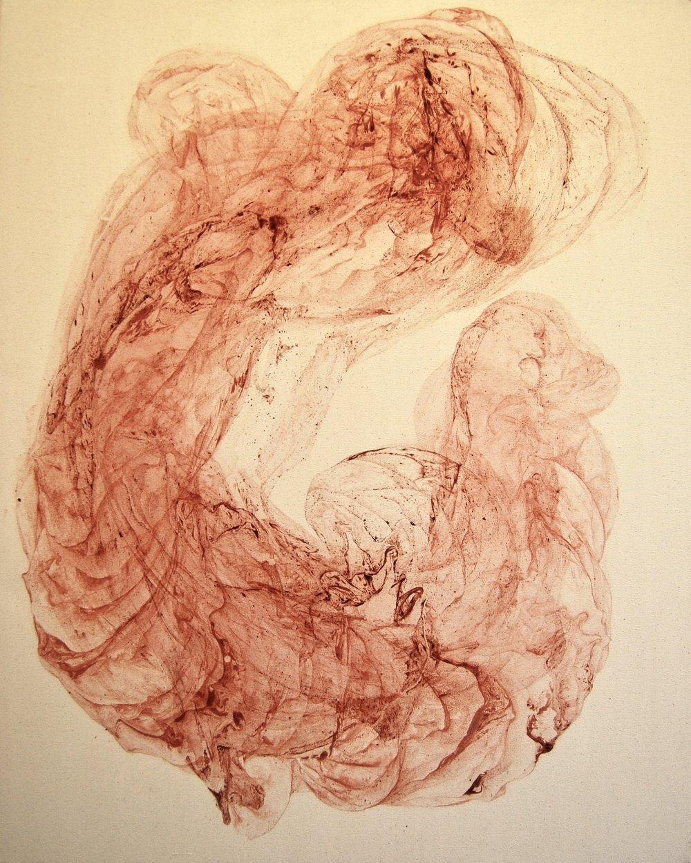 Odilia Suanzes, Odilia Suanzes. Untitled, Oxide pigment in canvas, 100 X 80 X 4 cm,  http://www.odiliasuazes.com