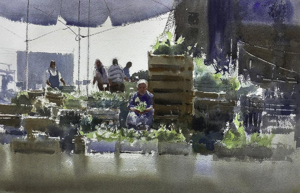 Massimiliano Iocco, The Market, watercolor, 30x40cm,  http://www.massimilianoiocco.com