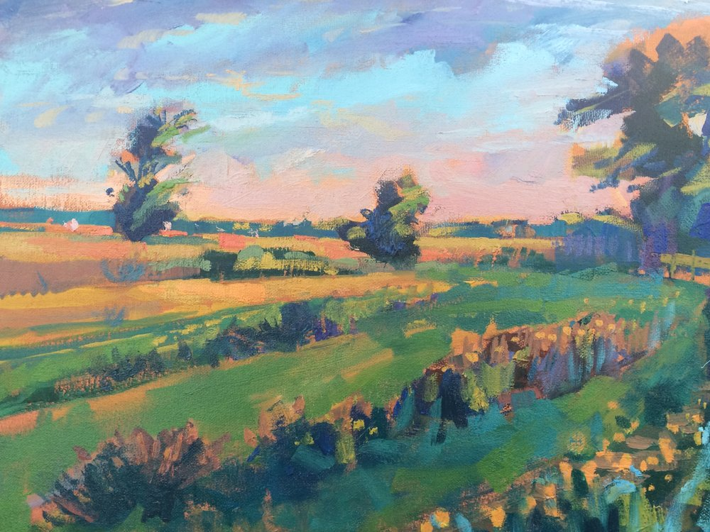 Lyudmila Sikhosana, Dusk at the Meadow, Oil on canvas, 35 x 45 x 2