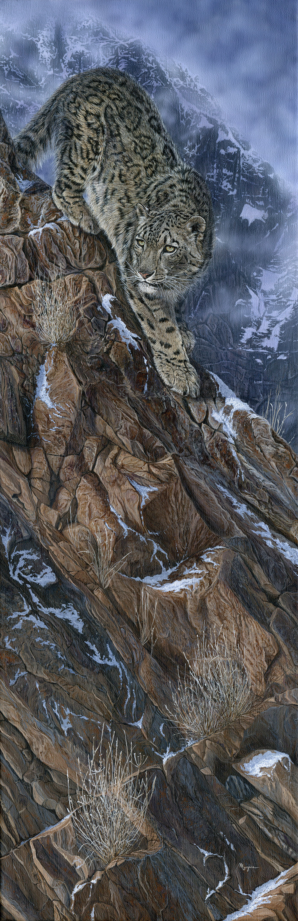 Morgane Antoine, The Mountaineer, Acrylic on canvas, 90 cm x 30 cm x 2 cm,  http://www.morganeantoine.com