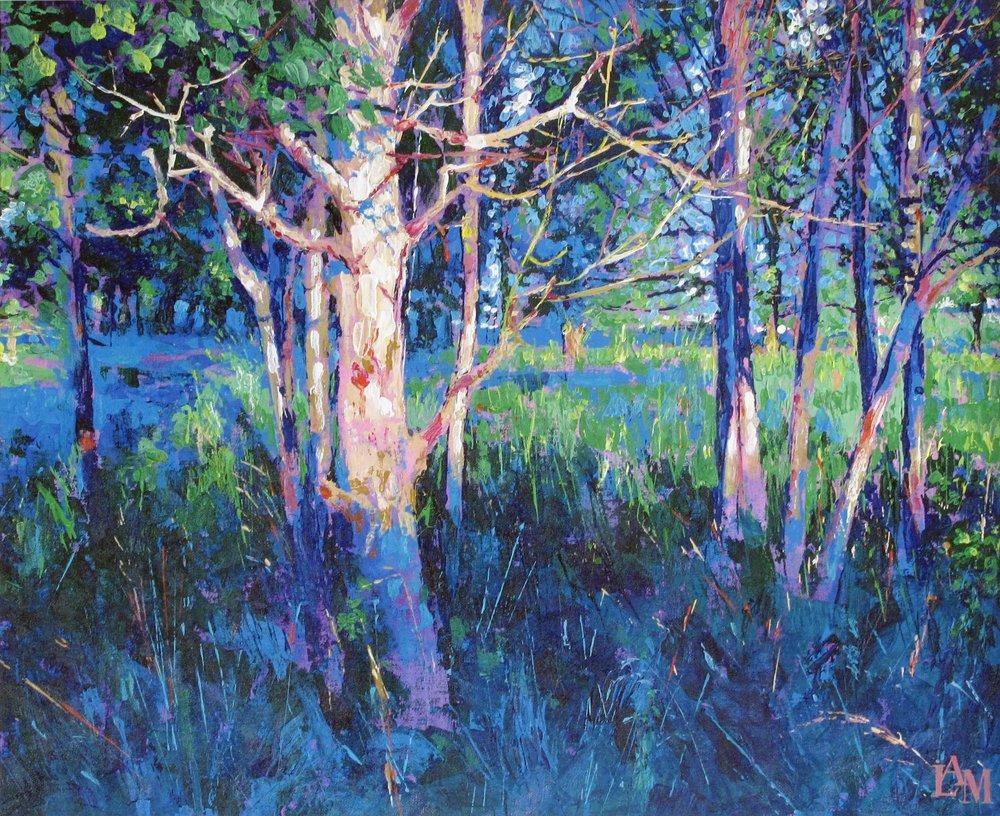 Lesley Anne Mackenzie, HARRESTRUP EVENING BLUE, acrylic, 22 x 18 inches,  http://www.lesleymackenzie.com