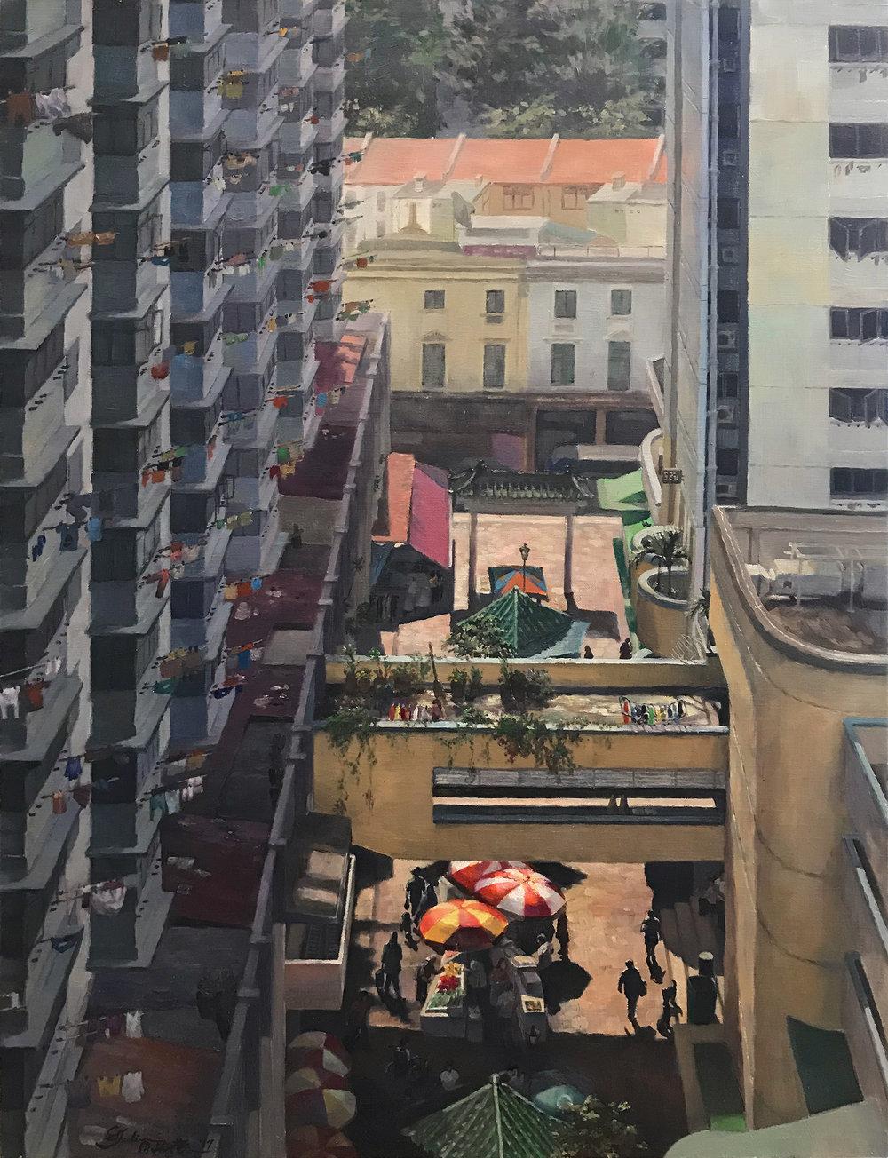 Juliana Chan, My Colourful Neighbourhood, Oil on Canvas, 76.2 cm x 60.96 cm x 4 cm,  http://www.nschanstudio.com