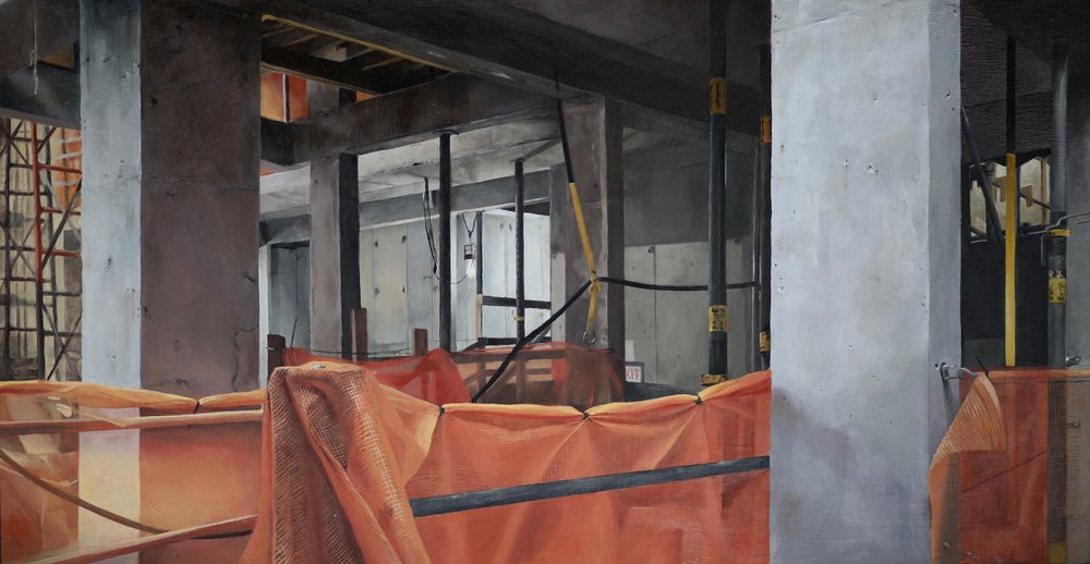 "Madison Vander Ark, View through the porthole, Oil on MDF, 14"" X 28"",  http://www.madisonvanderark.com"