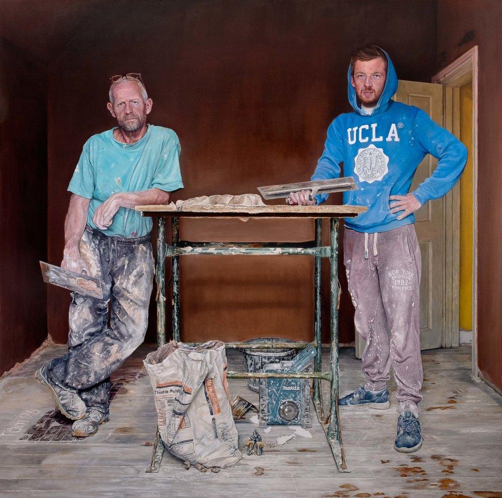 David Vigor, The Plasterers, Oil on plywood, 91.5 x 91.5 x 5.2 cm,  https://www.facebook.com/davidvigorartist