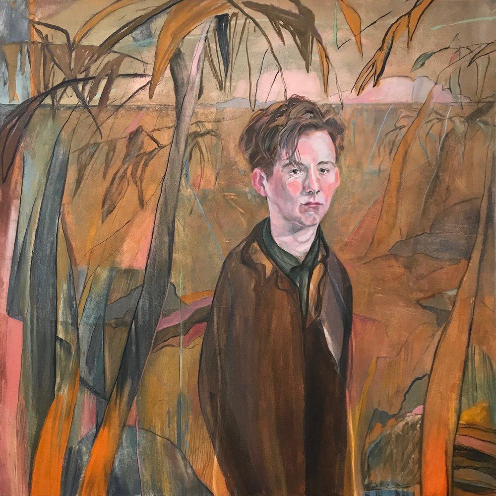 Annie Suganami, Future Farmer 2, oil on canvas, 100X100X4cm,  http://anniemorgansuganami.com