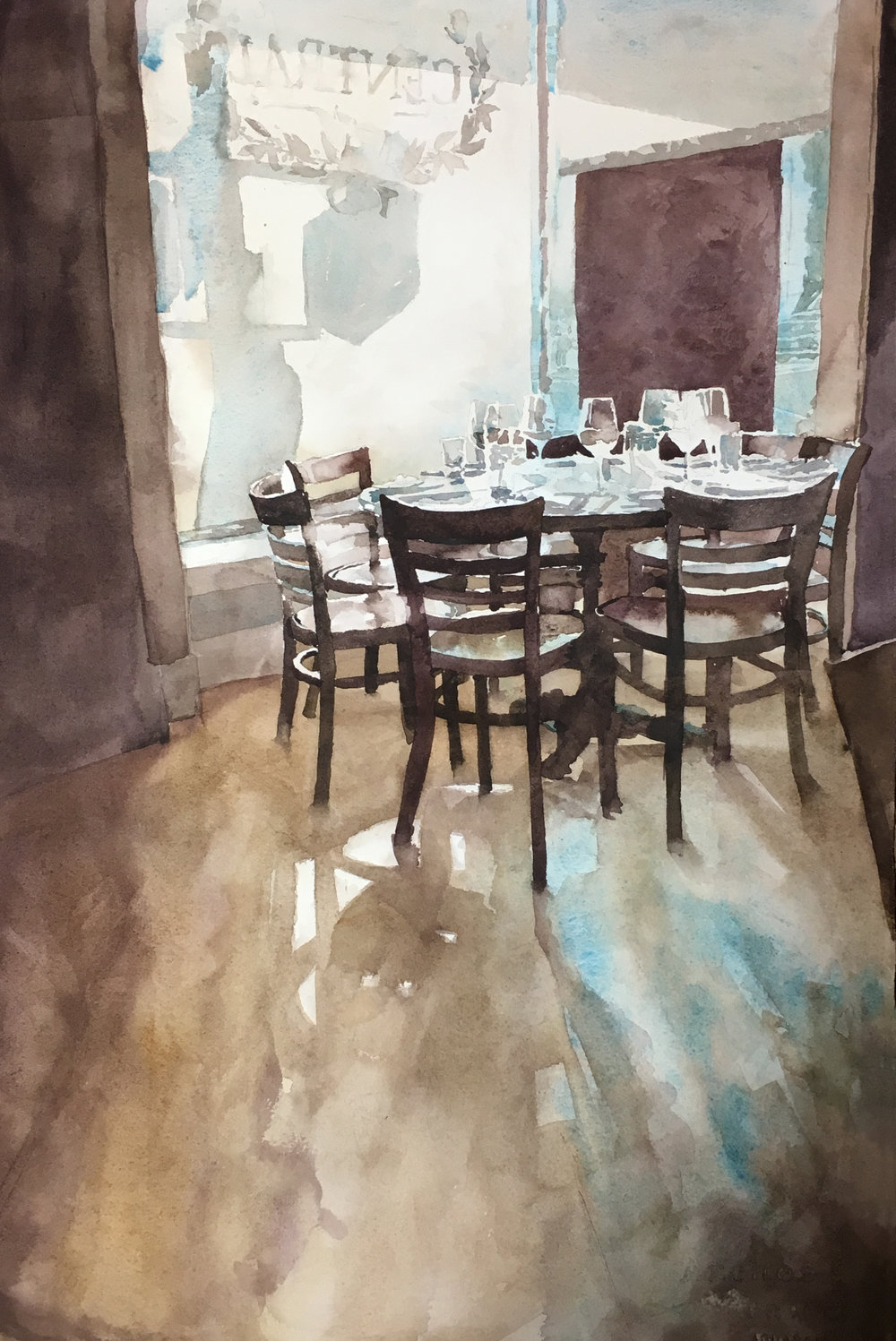 "Cyrus Hunter, Seating for Seven, Watercolor, 15"" x 22"",  http://www.chadhunterstudio.com"