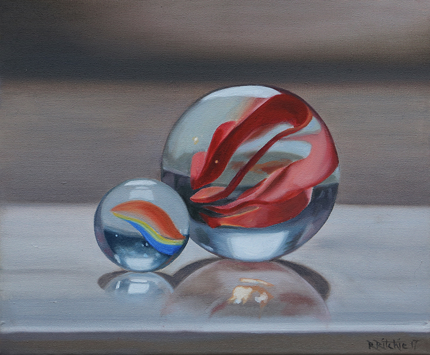Rebecca Ritchie, Marble duo, Oil on canvas, 30 x 25 x 1.5cm,  http://www.rebeccaritchie.co.uk