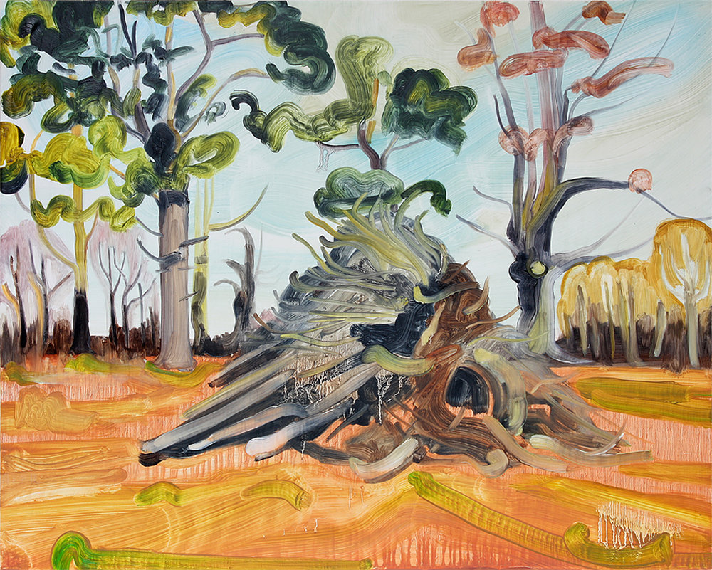 Caroline Thomson, Pyre, Oil on Wood, 40.5 x 50.5 x 5cm,  http://www.carolinethomson.com