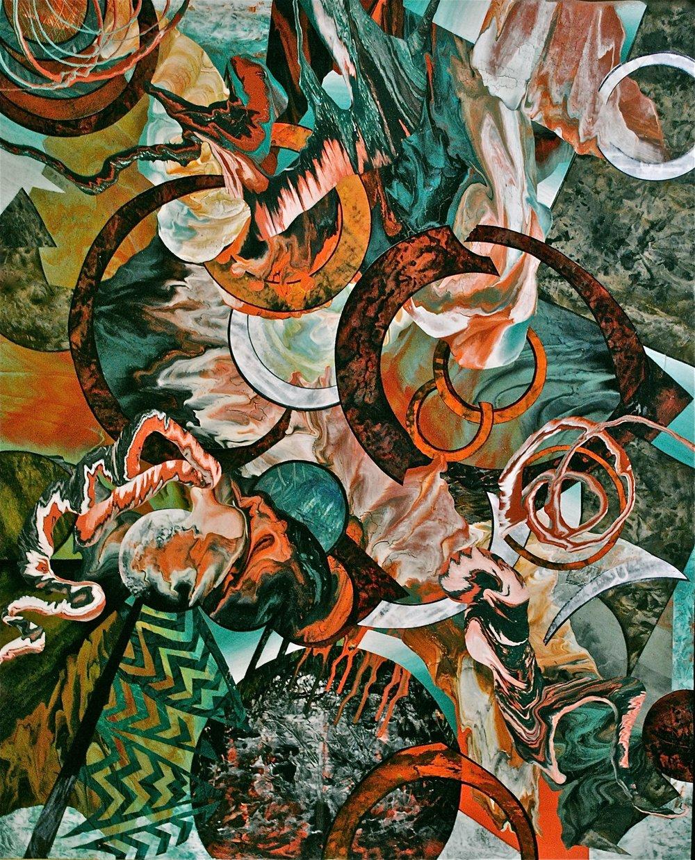 Irina Lloyd-Jones, Burning Bright, Acrylic on very thick high quality handmade paper, H 55.9 x 45.3 W x 0.1 D