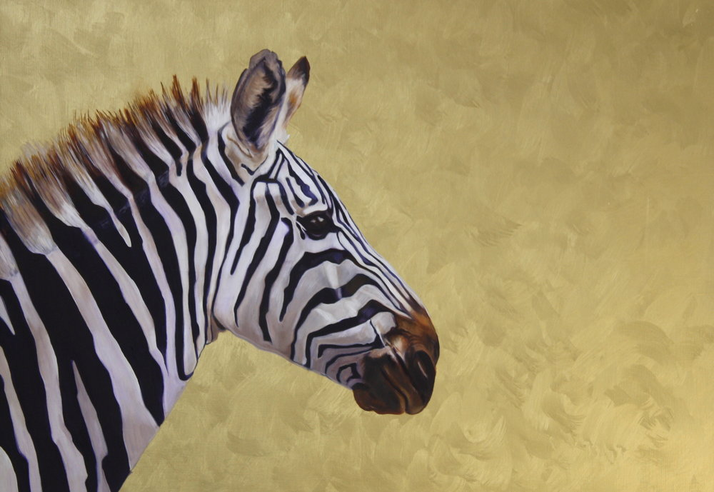 Victoria Heald, Zebra #1, Oils and light-reflective gold acrylic on board, 45 x 60 x 4,  http://www.victoriaheald.com