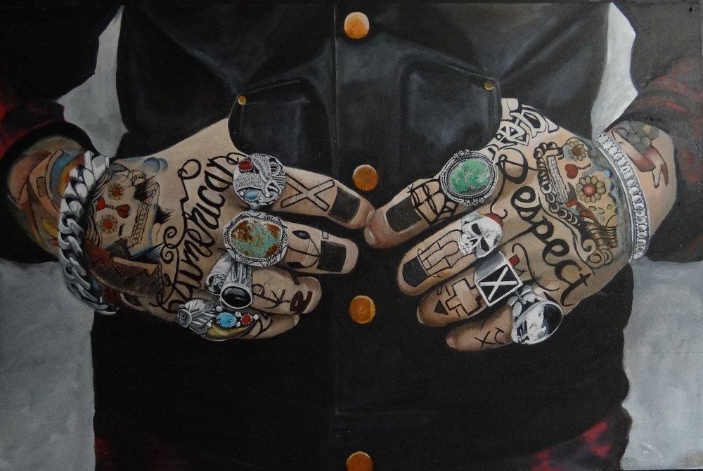 Karen Hunt, Karen Hunt - Tattooed Hands, Waterbased Oils on board, 61cm x 91cm x 2cm