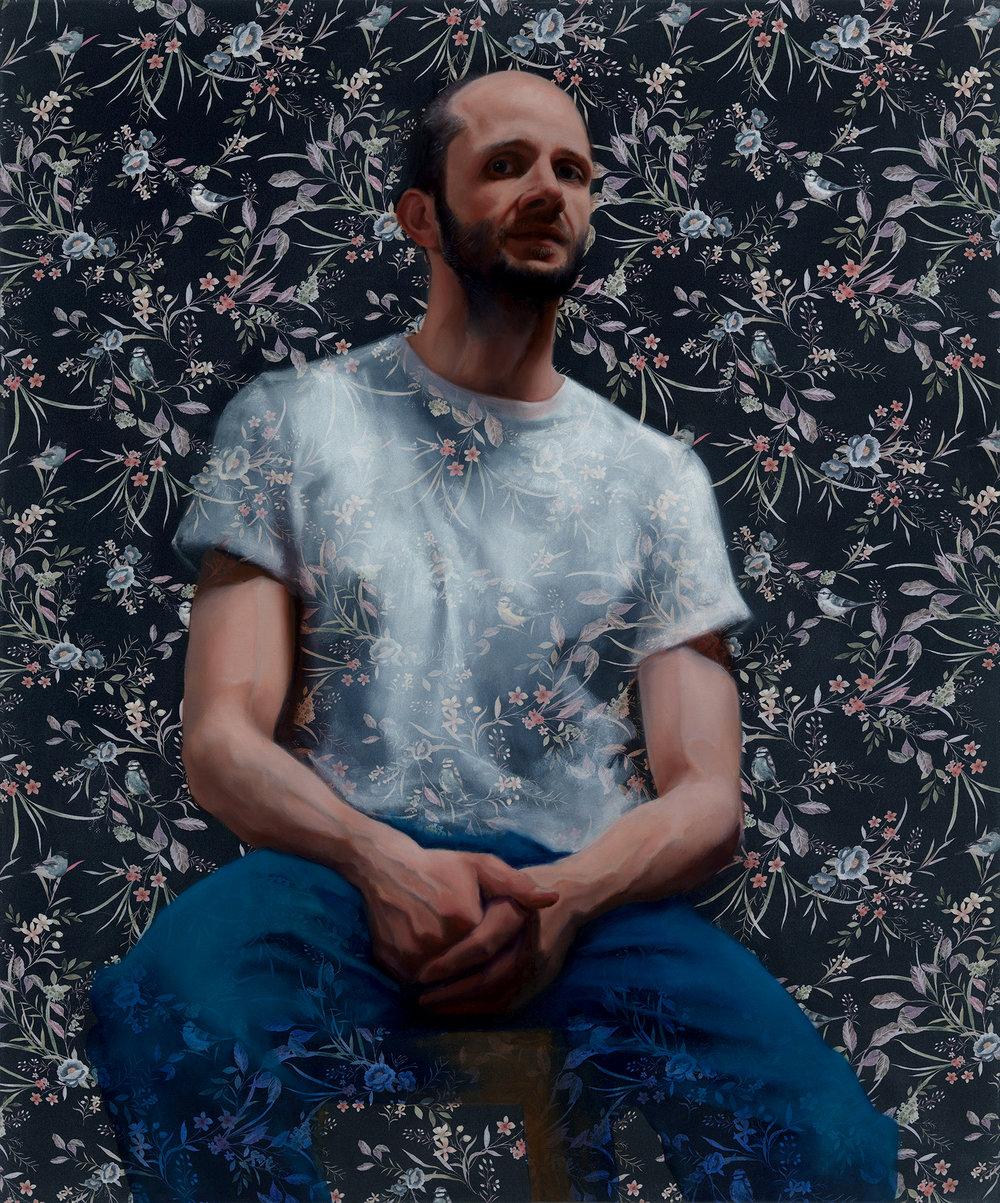 MD Drexler, Martin Drexler. JP, Oil paint on printed fabric, 120cm X 100cm,  http://martindrexler.co.uk