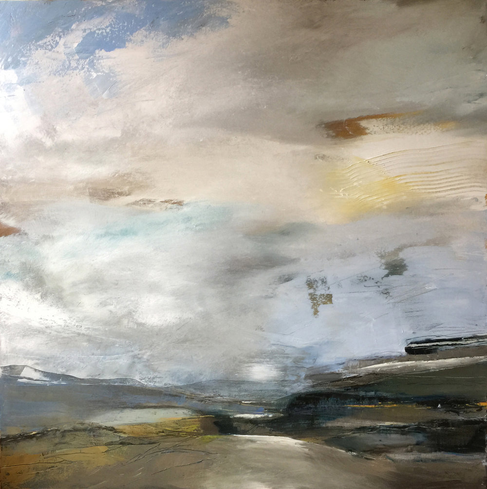 Belinda Reynell, Space All Around, Oil on canvas, 100 x 100 cm,  http://belindareynell.com