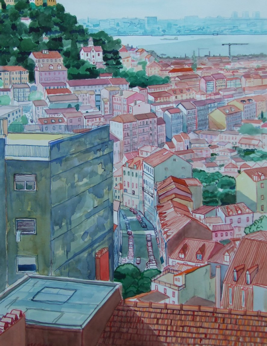 Malcolm Hopper, Lisbon, Watercolour, 78cmx58cm,  http://urbanscapepainting.co.uk