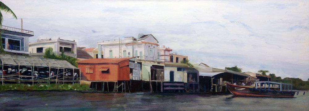 Alan Smith, Hoi An, Oil, 80cm x 35cm x 4cm,  http://alancarlyonsmith.com