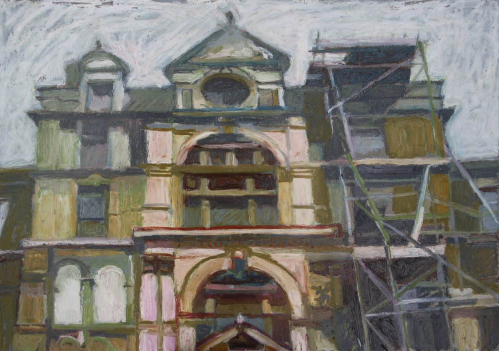 Sebastian Aplin, Coal Exchange east entrance, Oil pastel on paper, 30 x 42 x 3 cm,  http://www.sebastianaplin.com