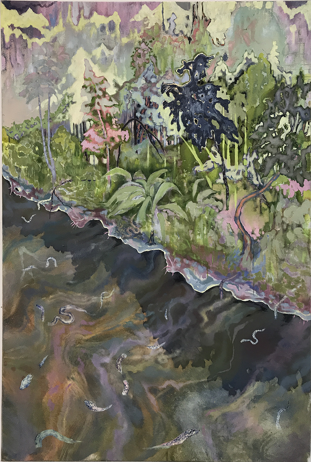 Tuesday Riddell, Water Snake's, Oil on Canvas, 150 x 100 x 5,  http://tuesdayriddell.com