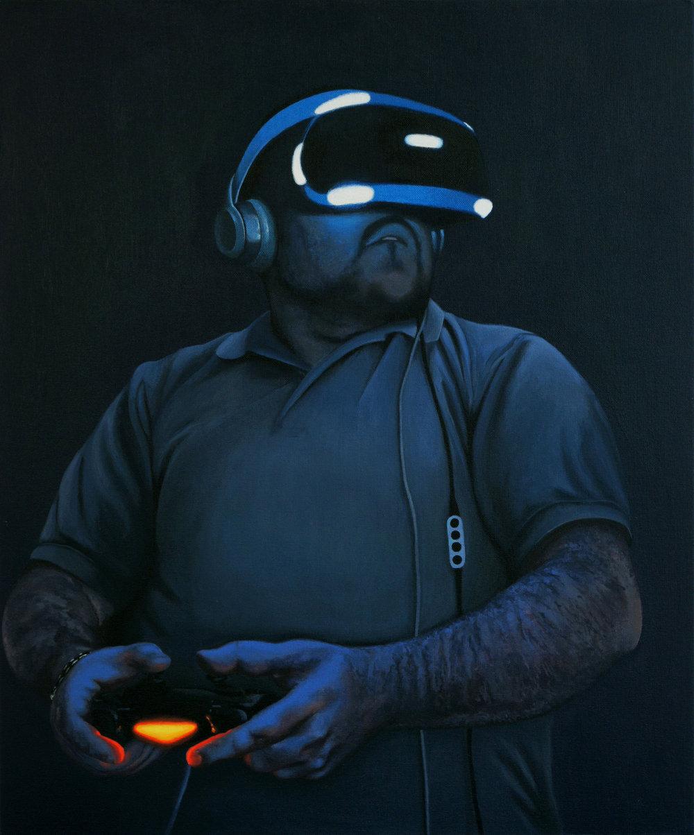 Peter Davis, VR Zombie, Acrylic on board, 61cm x 51cm x 1cm,  http://www.peterdavisartist.com