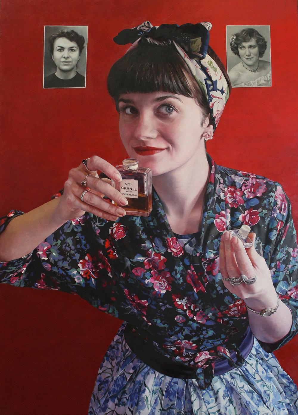 Sarah Hope, Memory's Scent, Oil on board, 70cm x 50cm x 3cm