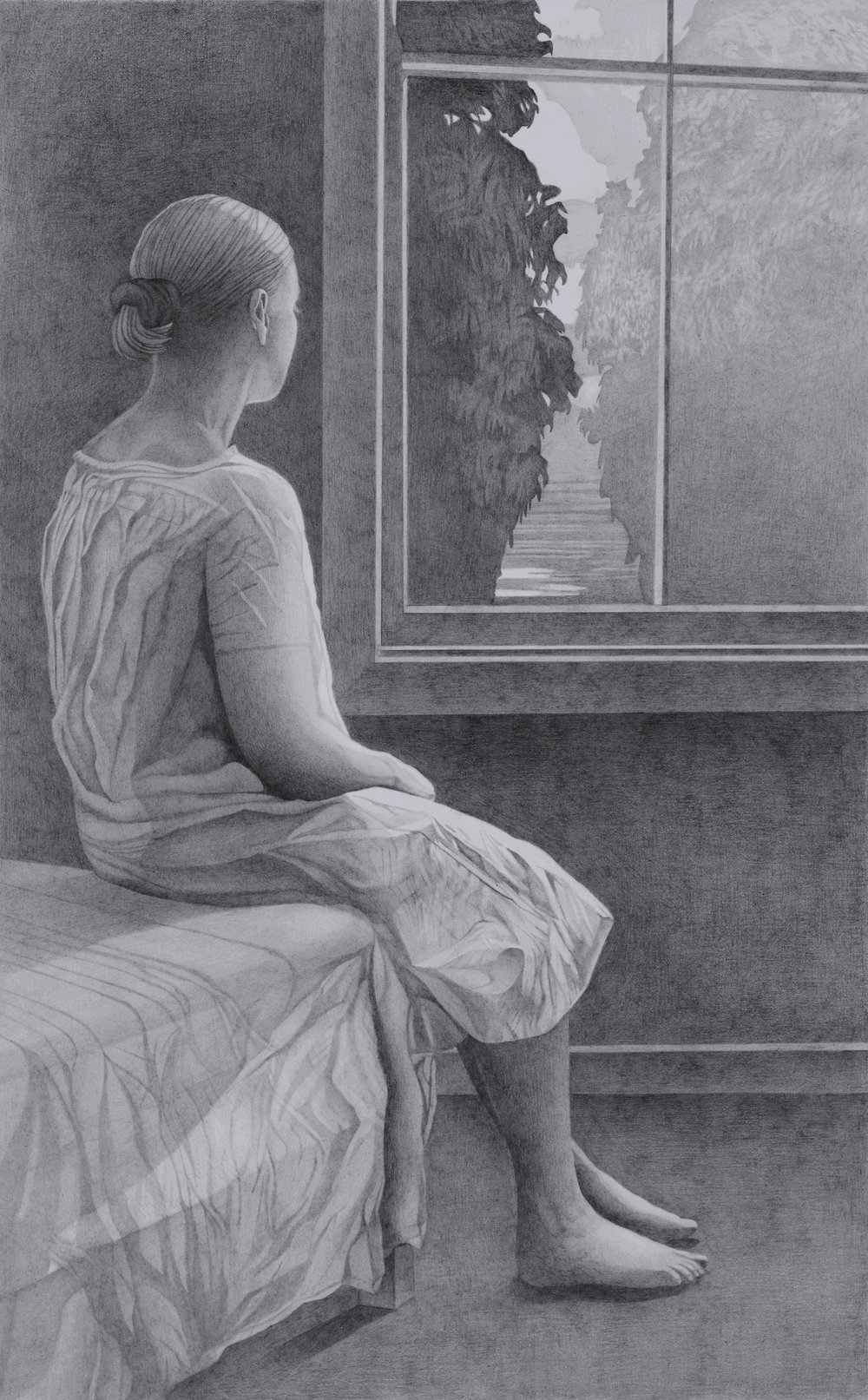 Paul Hogg, Woman at a Window, Pencil on paper, 54cmx34cm,  http://paul-hogg.com