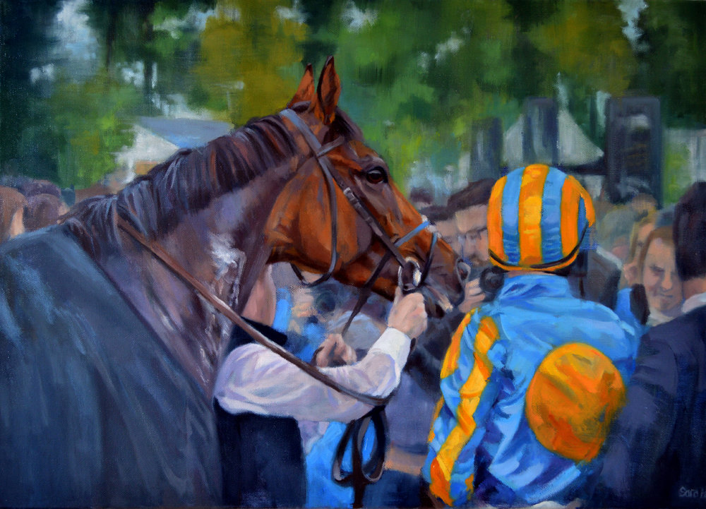 Sara Hodson, Winners Enclosure, Oil on canvas, 50cm x 70cm x 2cm,  http://www.sarahodson.com