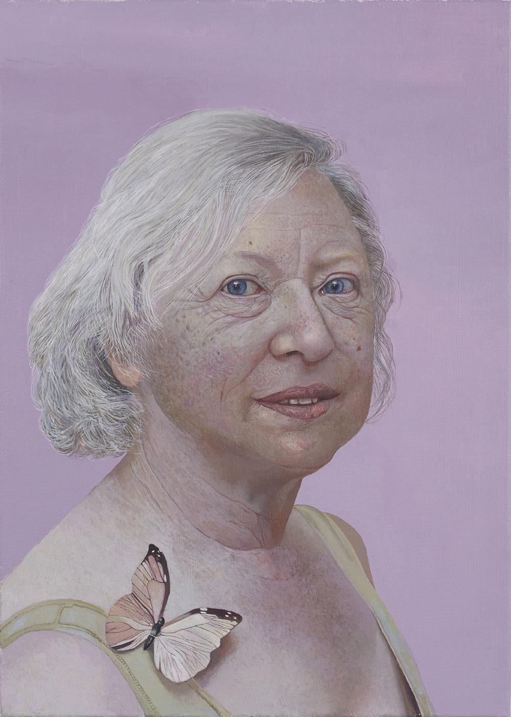 Fakhri Bismanto Bohang, Frau mit Schmetterling, Acrylic on canvas, 70 x 50 x 2, http://www.bismanto.com