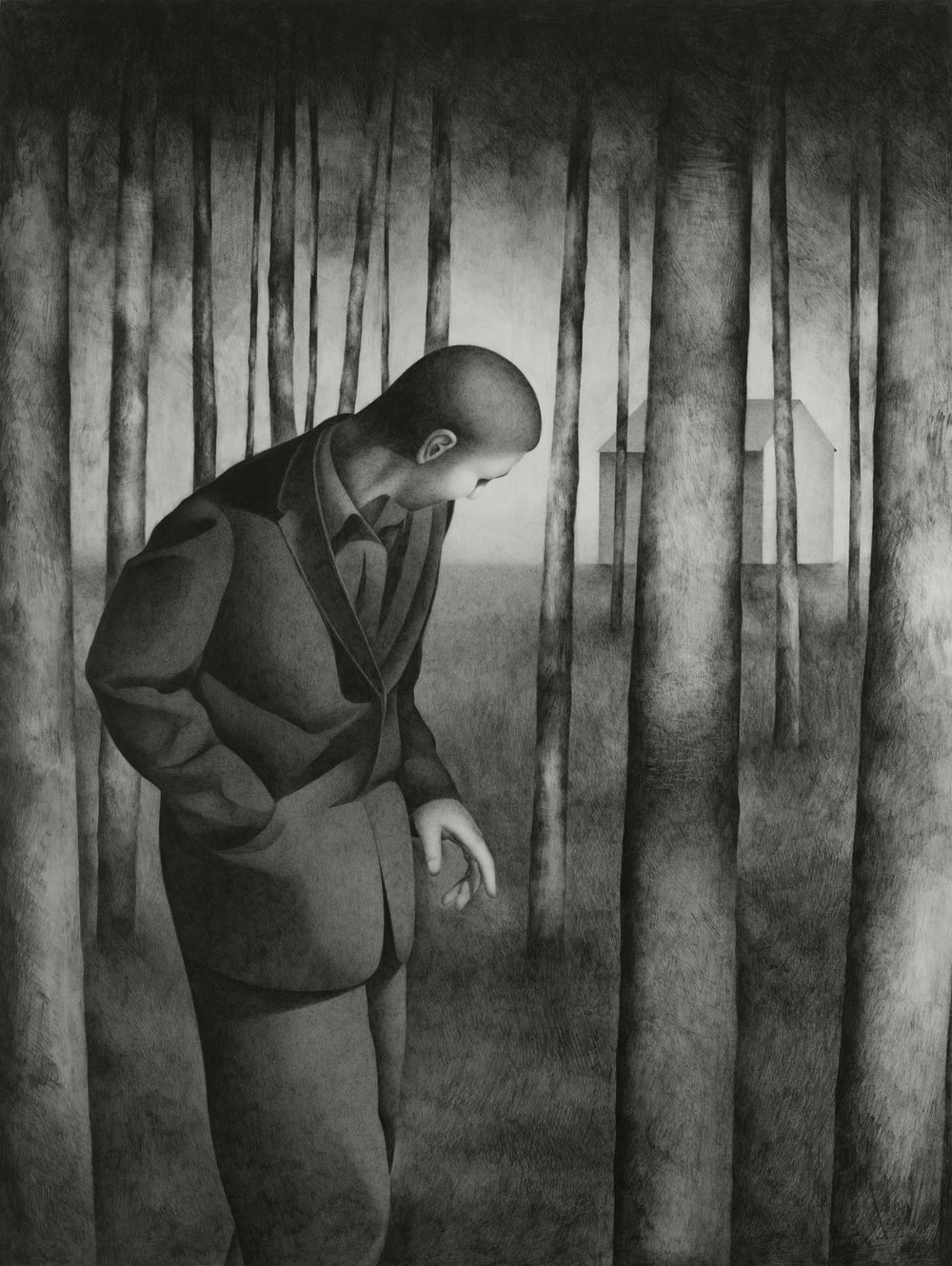 Paul Hogg, Man Walking in a Wood, Pencil on paper, 79cmcmx60cm,  http://paul-hogg.com