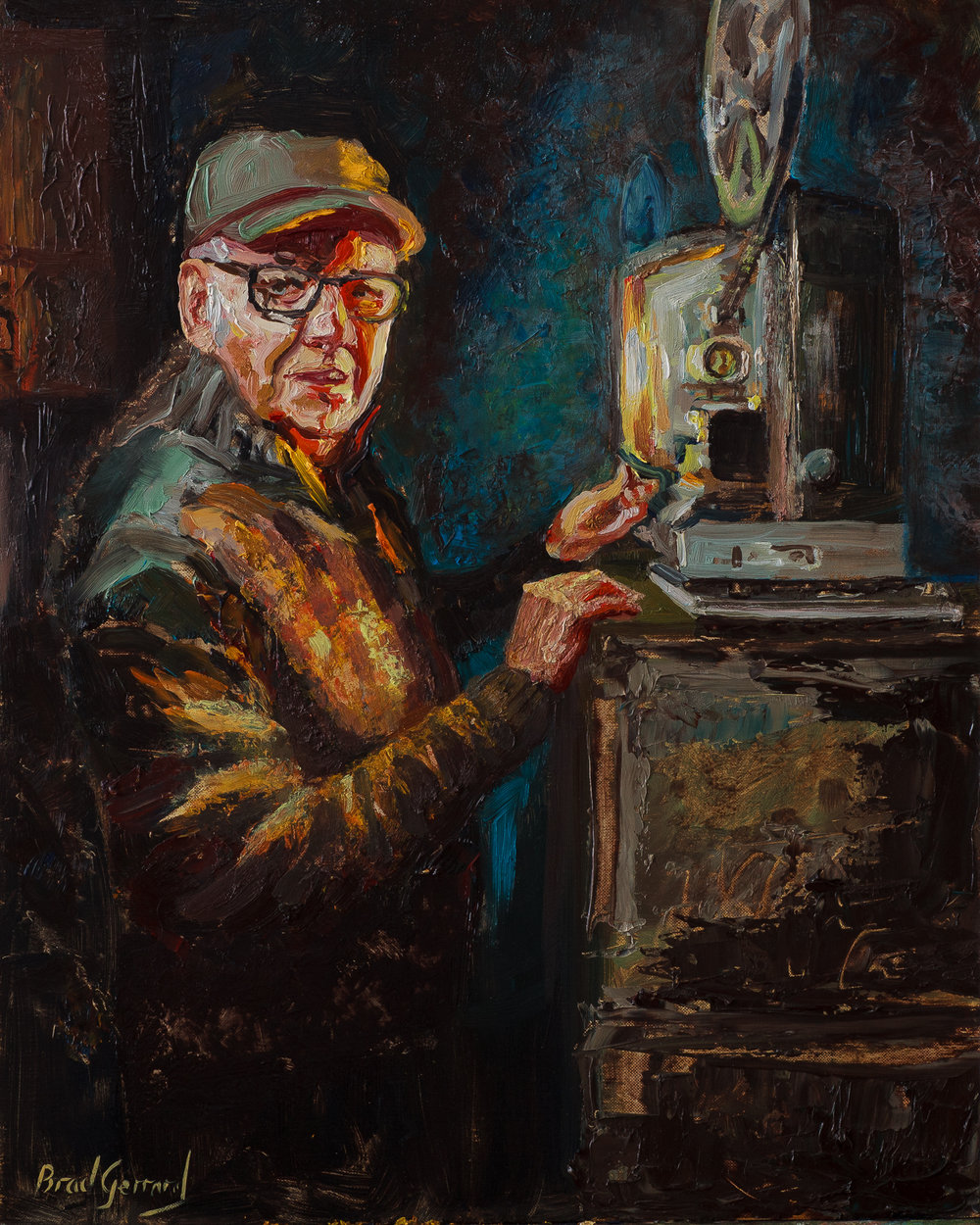 Brad Gerrad, Ron the projectionist, Oils, 40x50cms