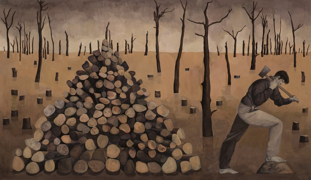 Paul Hogg, Woodcutter, Gouache on paper, 46cm x 80cm,  http://www.paul-hogg.com