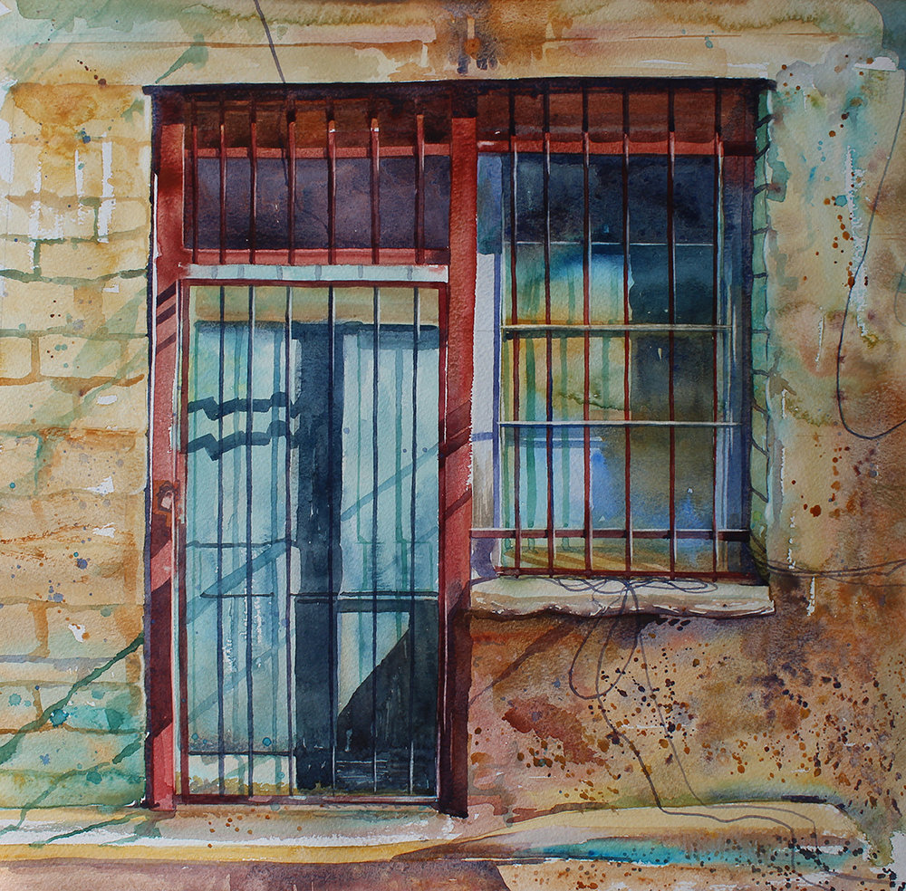sophie penstone, All Locked Up, watercolour on paper, 40cm x 40cm,  http://www.penstoneart.com