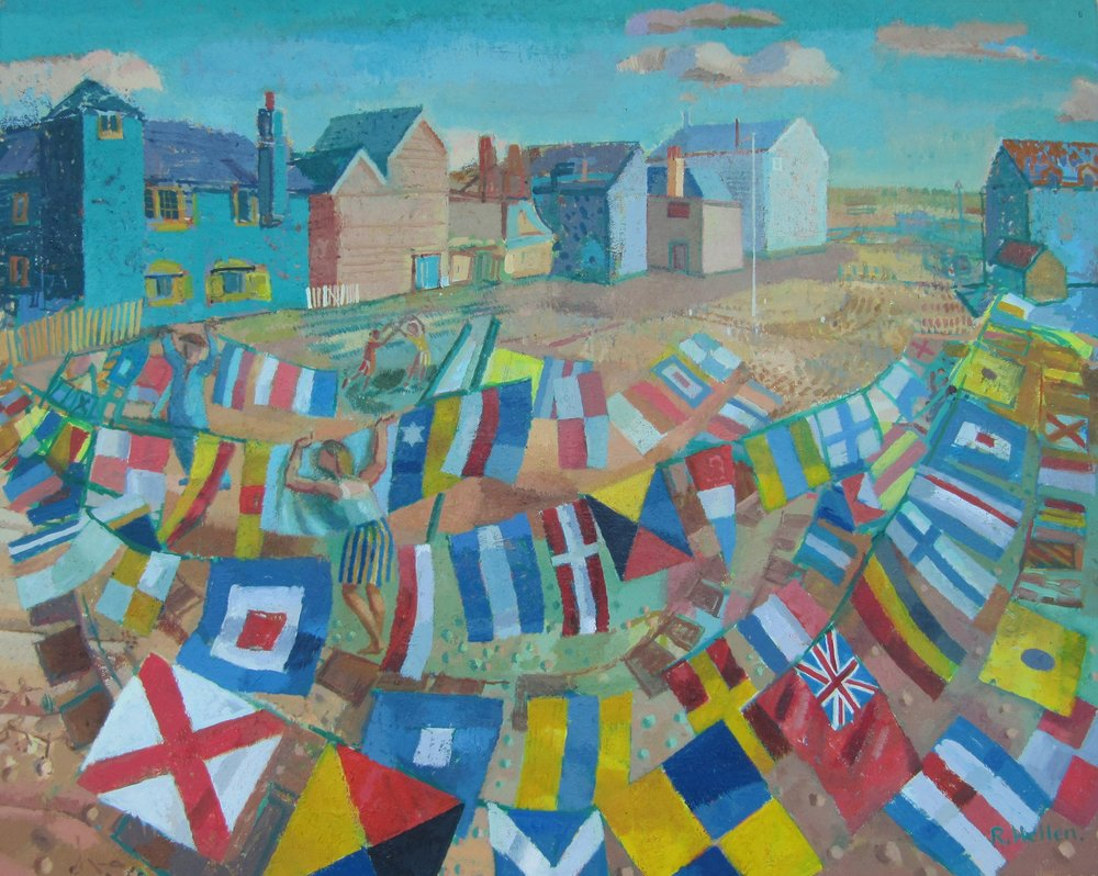 Ronald Hellen, Drying Flags on the Foreshore, Rye, Sussex, Oil, 61 x 77 x 3cm,  http://www.ronaldhellen.wordpress.com