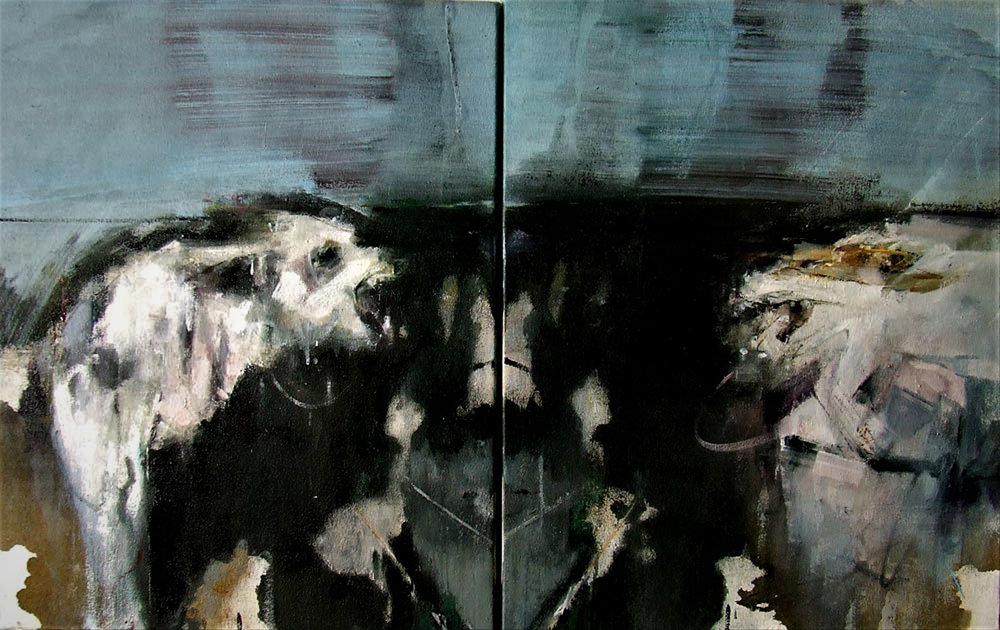 Sarah Shaw, Rorschach series - Selfie, Diptych - Oil on canvas, 58 x 94 x 5 cm,  http://www.sarahshaw.co.uk